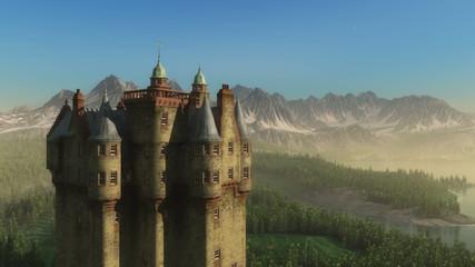 3D Animated Cartoon Castle in epic Landsacpe