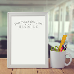 Poster mock up template over office background
