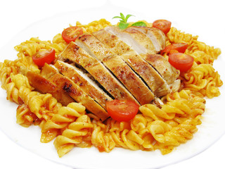 roast beef meat with vegetables and spaghetti