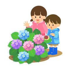 梅雨〈アジサイと子ども〉3