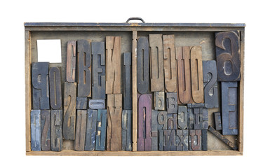 Wood Type Mixture in a desk drawer