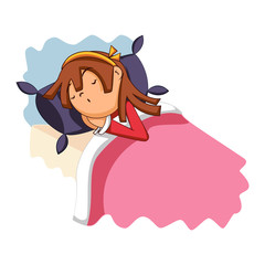 Little girl sleeping in bed, vector illustration