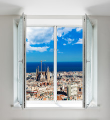 Cityscape of Barcelona seen through the window