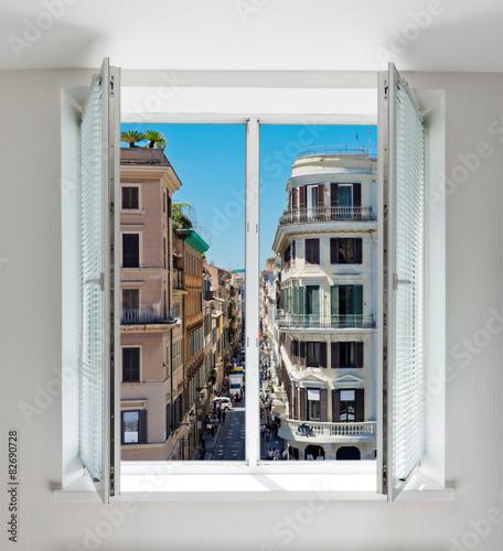 In de dag Milan Via Condotti, Rome seen through the window