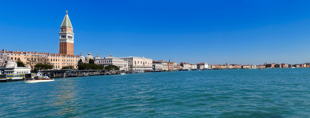 Venice lagoon with Doge's palace and Campanile on Piazza di San