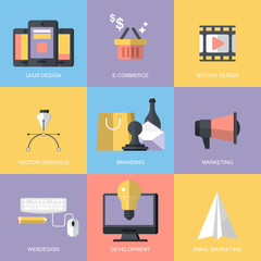 Website development and services concept with flat modern icons