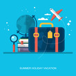Flat stylish modern icons for booking summer holiday vacation