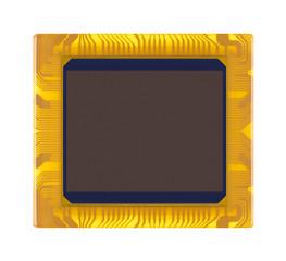 sensor of digital camera close-up on a white background