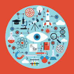 Science research and analysis vector concept