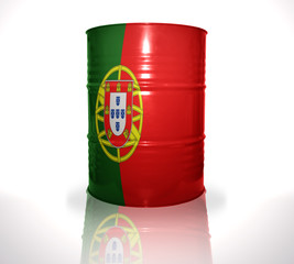 barrel with portuguese flag on the white background