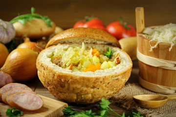 Cabbage soup in a loaf of bread