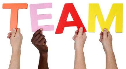 Multikulturell People Gruppe halten das Wort Team