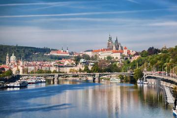 Prague Castle with  bridge  in Czech Republic