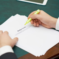 Marking words in a hedge funds definition