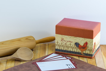 Recipe Box-Recipe Cards-Rolling Pin-Wooden Spoon