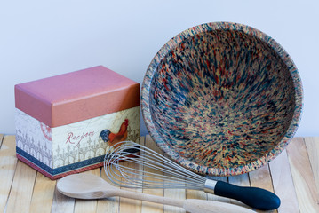 Recipe Box-Vintage Bowl-Whisk-Wooden Spoon