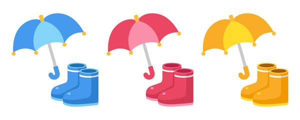 可愛い傘と長靴3色セット