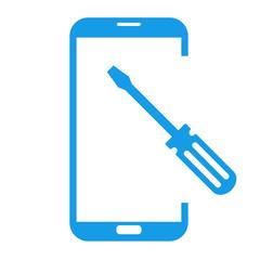 Icono smartphone reparación azul.