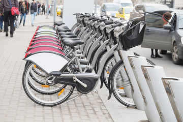 Row of bicycles on the parking, in Moscow street