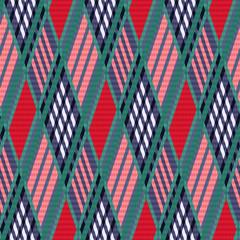 Tartan seamless rhombus texture red and blue