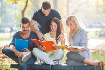 Group of four young students reading together in a park