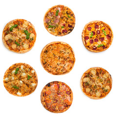collage different kinds of pizzas
