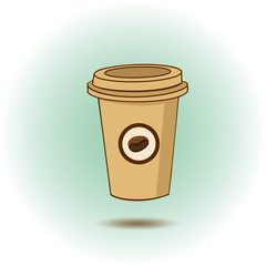Coffee cup icon made in vector.Plastic cup of coffee with bean