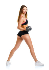Beautiful sport woman with dumbbells doing sport exercise, isola