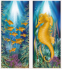 Underwater banner with seahorse and golden fish