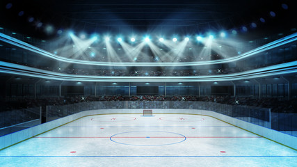 hockey stadium with spectators and an empty ice rink