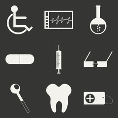 Flat in black and white concept mobile application medicine