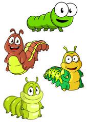 Cute colorful cartoon caterpillars characters