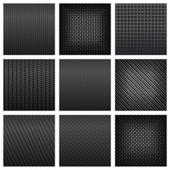 Assorted gray carbon, fiber and metallic textured pattern