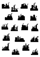 Industrial factories and refineries icon set