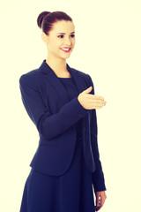 Businesswoman welcoming