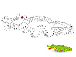 Crocodile Connect the dots and color