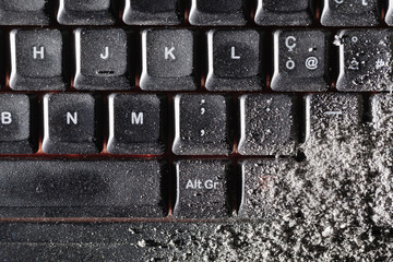 Dust covered keyboard