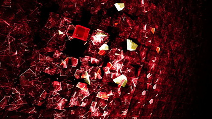 Explosion Of Red Cubic Particles - Wall made of cubes exploding