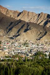 Aerial view of Leh city, Ladakh, India