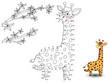 Fototapety Giraffe Connect the dots and color
