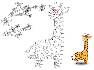 Giraffe Connect the dots and color