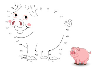 Pig Connect the dots and color