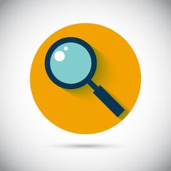 Magnifier zoom lens flat vector icon