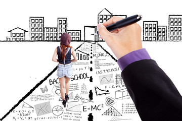 Female student walking on learning doodles
