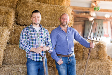 Two farm workers in hayloft