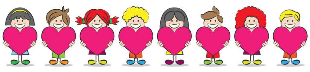 Kinder mit Herzen Vektor Illustration