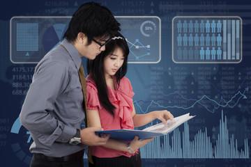 Entrepreneurs and futuristic interface