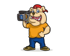 cameraman bulldog character image vector