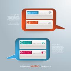 2 Sprechblasen 4 Banner Infografik