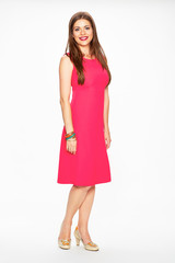 Woman in red dress. Full body isolated white background